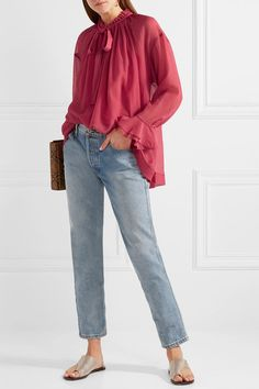 689281fa2173ee See By Chloé - Oversized Ruffled Cotton And Silk-blend Crepon Blouse -  Bubblegum