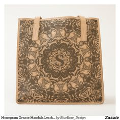 Shop Monogram Ornate Mandala Leather Tote Bag created by BlueRose_Design. Moleskine Notebook, Leather Journal, Leather Accessories, Worlds Of Fun, Handmade Bags, Cow Leather, Mandala, Monogram, Tote Bag
