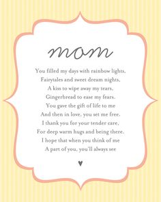 Poem Wall Art for Mom #mothersday