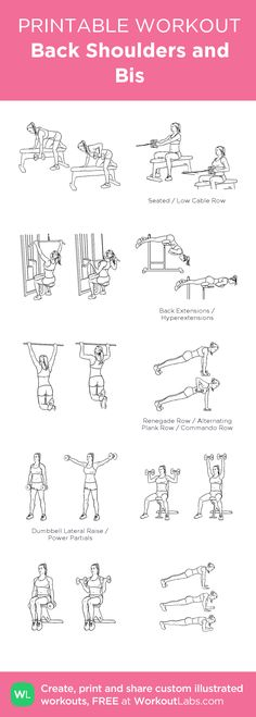 Back Shoulders and Bis:my visual workout created at WorkoutLabs.com • Click through to customize and download as a FREE PDF! #customworkout