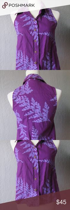 Sig Zane button down collared blouse sleeveless Like new! No defects or fading. Made by eminent Hawaiian designer Sig Zane. Botton down front, collar, beautiful print. Tags: Hawaii, Hawaiian, sig zane, manuhealii, manuheali'i, manaola, kealopiko, tropical, Polynesia, Polynesian, native fashion Sig Zane Tops Button Down Shirts