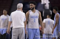North Carolina coach Roy Williams talks with Joel Berry II (2) during the Tar Heels' practice on Thursday, March 16, 2017 at the Bon Secours Wellness Arena in Greenville, S.C