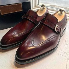 Bontoni 'Modugno' Single Buckle Wingtip Loafer in and Antiqued Burgundy
