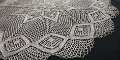 "34"" Vintage Handmade Knit Lace Large Doily, Light Beige Large Tablecloths, Round Tablecloth, Knit Lace, Lace Knitting, Bobbin Lace, Light Beige, Doilies, Applique, Delicate"