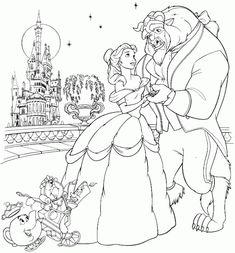 Cuentos infantiles: La Bella y la Bestia para colorear. Dibujos para imprimir. Beauty and the Beast.