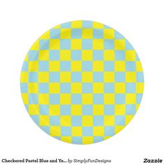Checkered Pastel Blue and Yellow Paper Plate  sc 1 st  Pinterest & Checkered Orange and White Paper Plate | White paper and Products