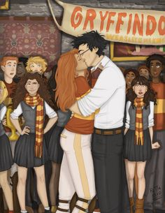 Just some new Harry Potter fan art of ginny's and harry's first kiss! Anyways, I hope you like it!More of my art:. Harry Potter Tumblr, Harry Potter Fan Art, Harry Potter Quidditch, Harry Potter Kiss, Images Harry Potter, Harry Potter Cosplay, Harry Potter Drawings, Harry Potter Books, Harry Potter Fandom