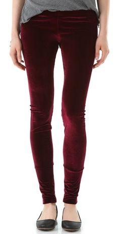 LNA - Velvet Leggings (Burgundy & Black)