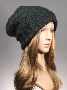 Slouch BeanieBlack Slouchy HatSlouchy Beanie knit by GoKnitsDotCom