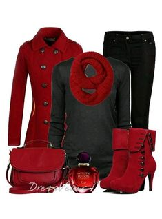 Love the red color.  The outfit is nice especially the coat.  The boots are a to high for me.