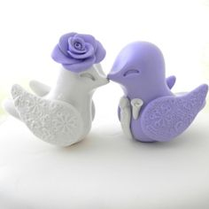 Love Bird Wedding Cake Topper Lilac and Ivory/Off by LavaGifts, $67.00 ~ Explore more DIY wedding ideas, how to choose a wedding dress and the best honeymoon destinations on www.mrspurplerose.com