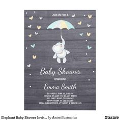 Elephant Baby Shower Invitation Boy Blue Jungle ♥ A perfect way to invite your guests to your baby shower! Elephant baby shower theme with blue details for a boy shower.