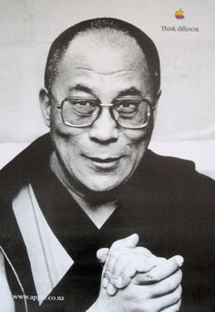 Apple ••Think Different•• ad campaign 1997 poster > Dalai LAMA (via Creative Criminals) • wiki: http://www.wikiwand.com/en/Think_different