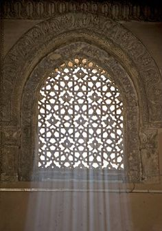 Egypt, Cairo, ninth century mosque of Ahmad Ibn Tulun, Abbasid governor of Egypt, window in main prayer hall Islamic World, Islamic Art, Islamic Architecture, Art And Architecture, Temples, Living Room Light Fixtures, Islamic Patterns, Kairo, Beautiful Mosques