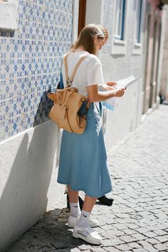 Boxy Crop Top in Ivory and Denim Midi Skirt: http://www.thewhitepepper.com