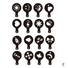 How cute is this?  16PCS Cake Cappuccino Foam Tool Coffee Latte Art Stencils DIY Decorating