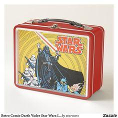 Retro Comic Darth Vader Star Wars Illustration Metal Lunch Box Star Wars Comic Books, Star Wars Comics, Star Wars Toys, Vader Star Wars, Darth Vader, Boba Fett Comics, Red Lightsaber, Comic Book Style, Metal Lunch Box