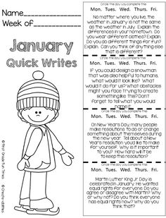 NEW - quick writes for upper elementary - try the Jan freebie! Full sets for Jan and Feb posted and include an option for Interactive Notebooks $