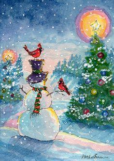 Snowman red bird christmas tree