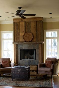 reclaimed wood fireplace wall - Love this Wood Fireplace Surrounds, Reclaimed Wood Fireplace, Fireplace Redo, Rustic Fireplaces, Farmhouse Fireplace, Fireplace Remodel, Living Room With Fireplace, Fireplace Design, My Living Room