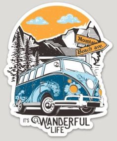 It's A Wanderful Life Sticker is part of Vans stickers - Hippie sticker - Cute stickers - V Stickers Cool, Tumblr Stickers, Printable Stickers, Laptop Stickers, Vw T1, Volkswagen, Journal Stickers, Aesthetic Stickers, Grafik Design