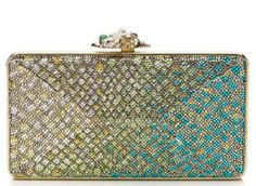 Judith Leiber Everglades Avenue Snakeskin Pattern Crystal Clutch Collectible - Handbag