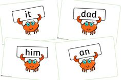 FREE Phase 2 Key Words held by Crabs Early Years (EYFS) Printable Resource — Little Owls Resources - FREE Nursery Practitioner, Early Years Teacher, Alphabet Cards, Phase 2, Crabs, Eyfs, Nursery Rhymes, Coloring Sheets, Under The Sea