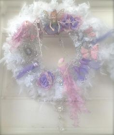 Shabby Lilac Pink Bird White Feather Christmas Decoration Lavender Wreath Chic
