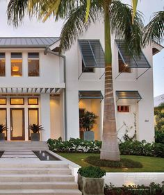 Modern Coastal Home - beach-style - Exterior - Miami - MHK Architecture & Planning Architecture Plan, Architecture Details, Farmhouse Architecture, Dream Home Design, House Design, Home Beach, Beach House, Beach Cottage Style, Bahama Shutters
