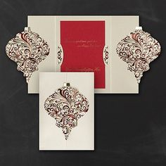 Ornate Ornament Holiday Card The beautifully elegant ornament comes together on the front of this cocoa shimmer card via the gate fold.Ornate Ornament Holiday Card Item Number:YME1231 $243.00-$250.00 Per 100