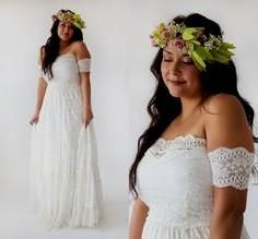 Off the shoulder plus size beach boho wedding dress.