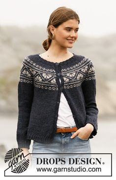Nordic - Free knitting patterns and crochet patterns by DROPS Design Fair Isle Knitting Patterns, Fair Isle Pattern, Sweater Knitting Patterns, Crochet Cardigan, Knitting Stitches, Free Knitting, Knit Crochet, Crochet Patterns, Drops Design
