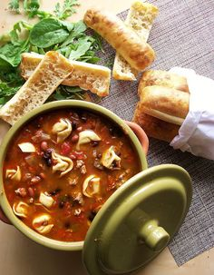 Spicy Turkey Sausage Chili with Cheese Tortellini by Baking with Blondie