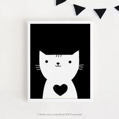 Printable art coeur chat salon enfants chambre mur Art affiche