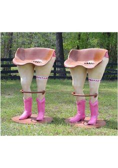 Bar Stools with Polka Dot Bikini Pink Western Boots and Foot Rail PR