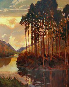 "Tonalist Impressionist Art - Matted Giclee Art Print ""Pines By The Lake"" Sunset by Jan Schmuckal. Landscape Art, Landscape Paintings, Illustration Art, Illustrations, Art Mat, Impressionist Art, Art Graphique, Tree Art, Oeuvre D'art"