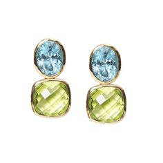 Blue topaz and green quartz Drop Earrings in yellow gold. Gee Woods. www.geewoods.com