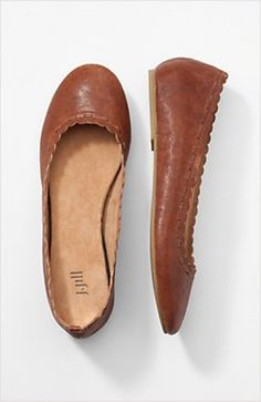 74d6535d629 Scalloped-Edge Ballet Flats for J. Jill by Gee WaWa Brown Flats Outfit