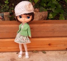 Cardigan and skirt for Blythe by RainbowDaisies on Etsy