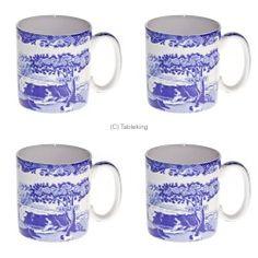 spode blue italian 250ml tea coffee mug pack of 4 tableking