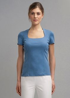 Swiss Cotton Rib Portrait Neckline Tee from Lafayette 148 New York on Catalog Spree, my personal digital mall.