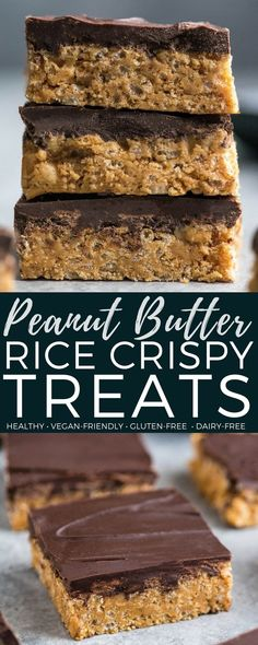 These Healthy Peanut Butter Rice Crispy Treats are made with only 6 good-for-you ingredients and come together in minutes! There are no marshmallows or corn syrup in this recipe! They are the perfect easy, no-bake, gluten-free dessert to satisfy your chocolate peanut butter cravings! #glutenfree #dairyfree #veganfriendly #vegan #dessert #ricecrispytreats #snack #refinedsugarfree  via @joyfoodsunshine