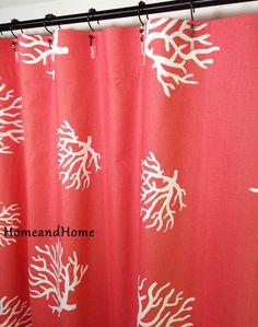 Sur mesure tissu douche Rideau 72 x 84 corail corail blanc Extra long, 72 72 x 78 x rideau de douche 84