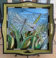 """Dragonfly"" wooden tray with glass mosaic, SOLD! -- www.debchilcote.com/crash-glass-mosaics-5/"