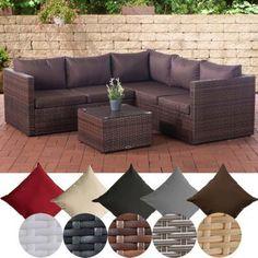 CLP Poly Rattan Lounge Set LIBERI L Garten Set Mit 5 Sitzplätzen L Garnitur  Mit Aluminium Gestell L Komplett Set Bestehend Aus: 3er Sofa + 2er Sofa +  Tisch ...