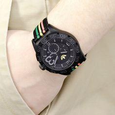 Adidas ADH2795 Men's Originals Newburgh Rasta Chronograph Watch with Nylon Strap by Adidas