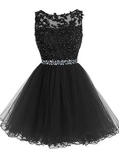 Tideclothes Short Beaded Prom Dress Tulle Applique Homeco...
