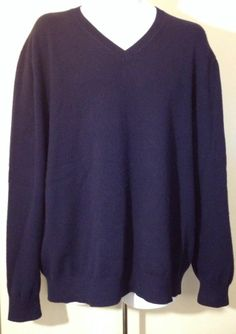 Mens Lands' End V-Neck Sweater XL 100% Cashmere Navy Blue Long Sleeve