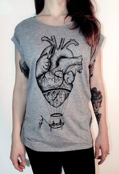 Ladies t shirt with hot air balloon / anatomical heart vintage tattoo style print