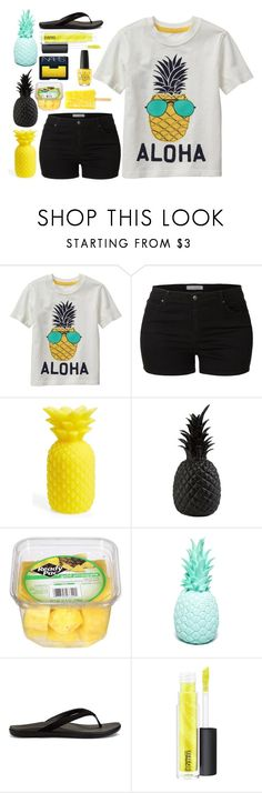 """Pineapple"" by lilarose111 ❤ liked on Polyvore featuring LE3NO, Sunnylife, Pols Potten, Goodnight Light, OluKai, MAC Cosmetics, OPI and NARS Cosmetics"